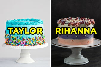 On the left, a cake with bright frosting and sprinkles surrounding it labeled