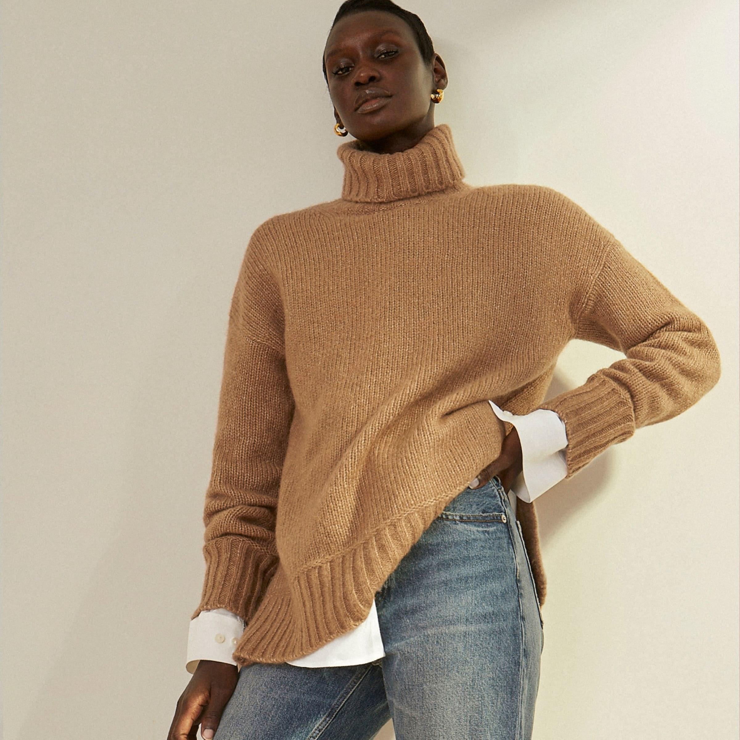 Model wearing brown turtleneck sweater