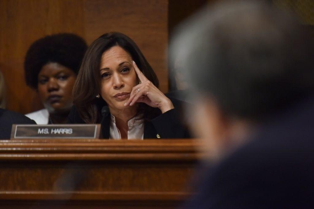 Senator Harris at a senate hearing