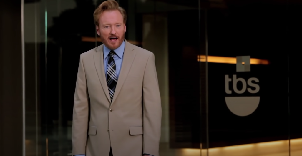 Conan looking surprised while leaving the TBS building