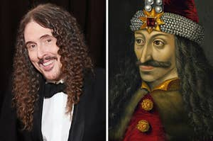 Side-by-side images of Weird Al and Vlad the Impaler