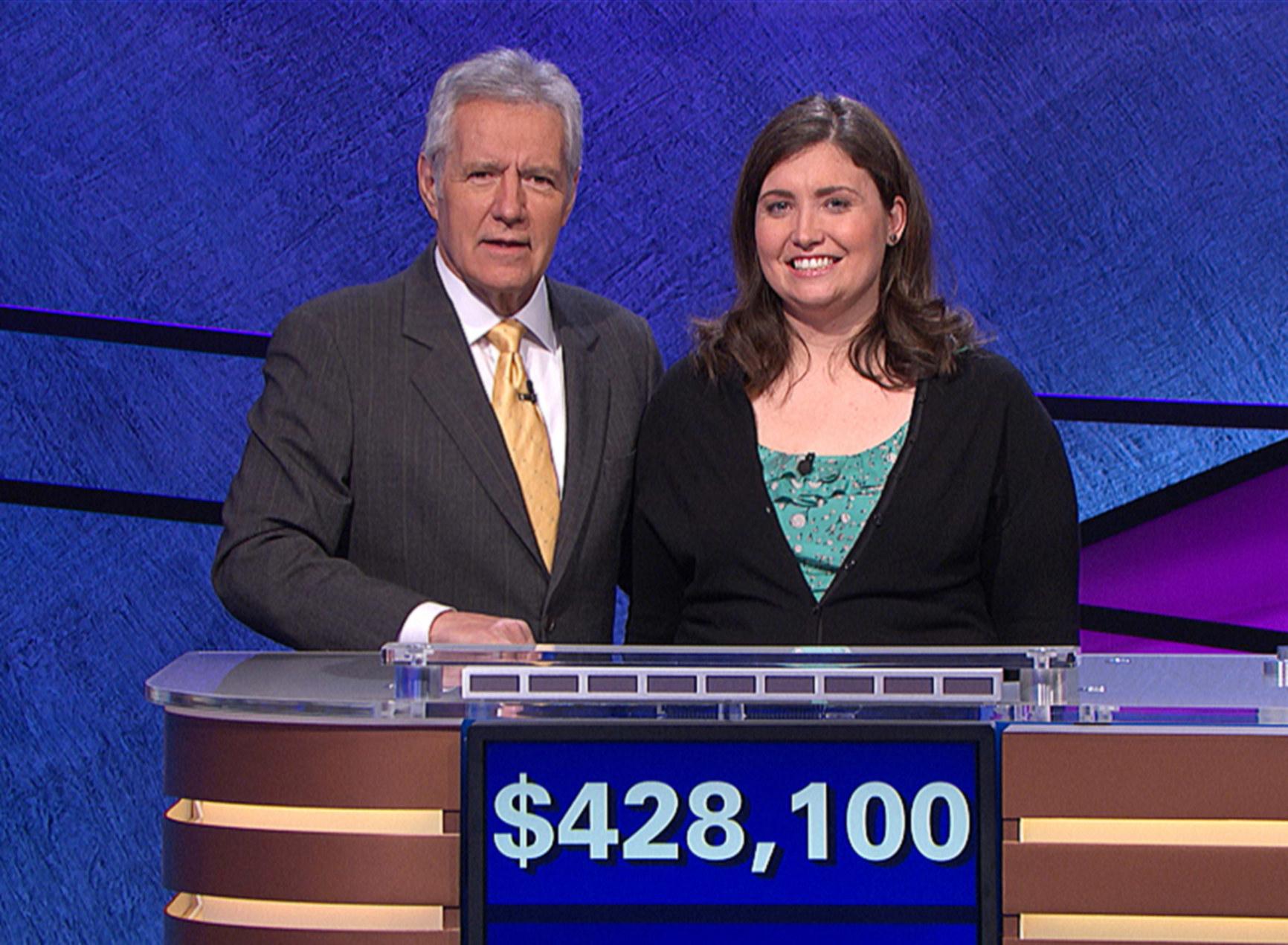 Jeopardy host Alex Trebek, contestant Julia Collins