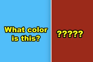 Side-by-side of a light sky-blue color and a dark red-brown color