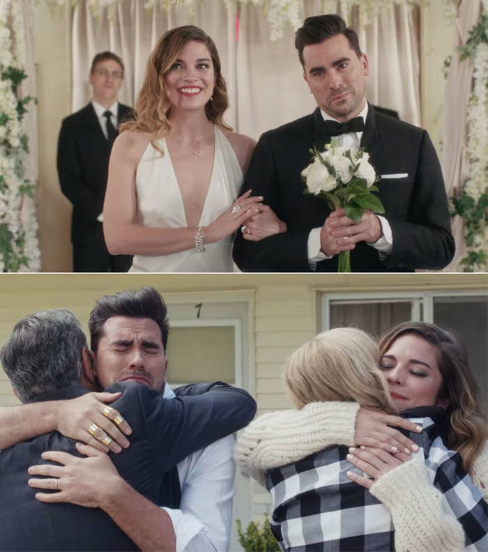 Alexis walking David down the aisle and Alexis and David hugging Johnny and Moira