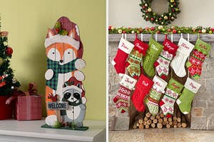 A woodland creatures holiday sign and decorative stockings hanging on a fireplace