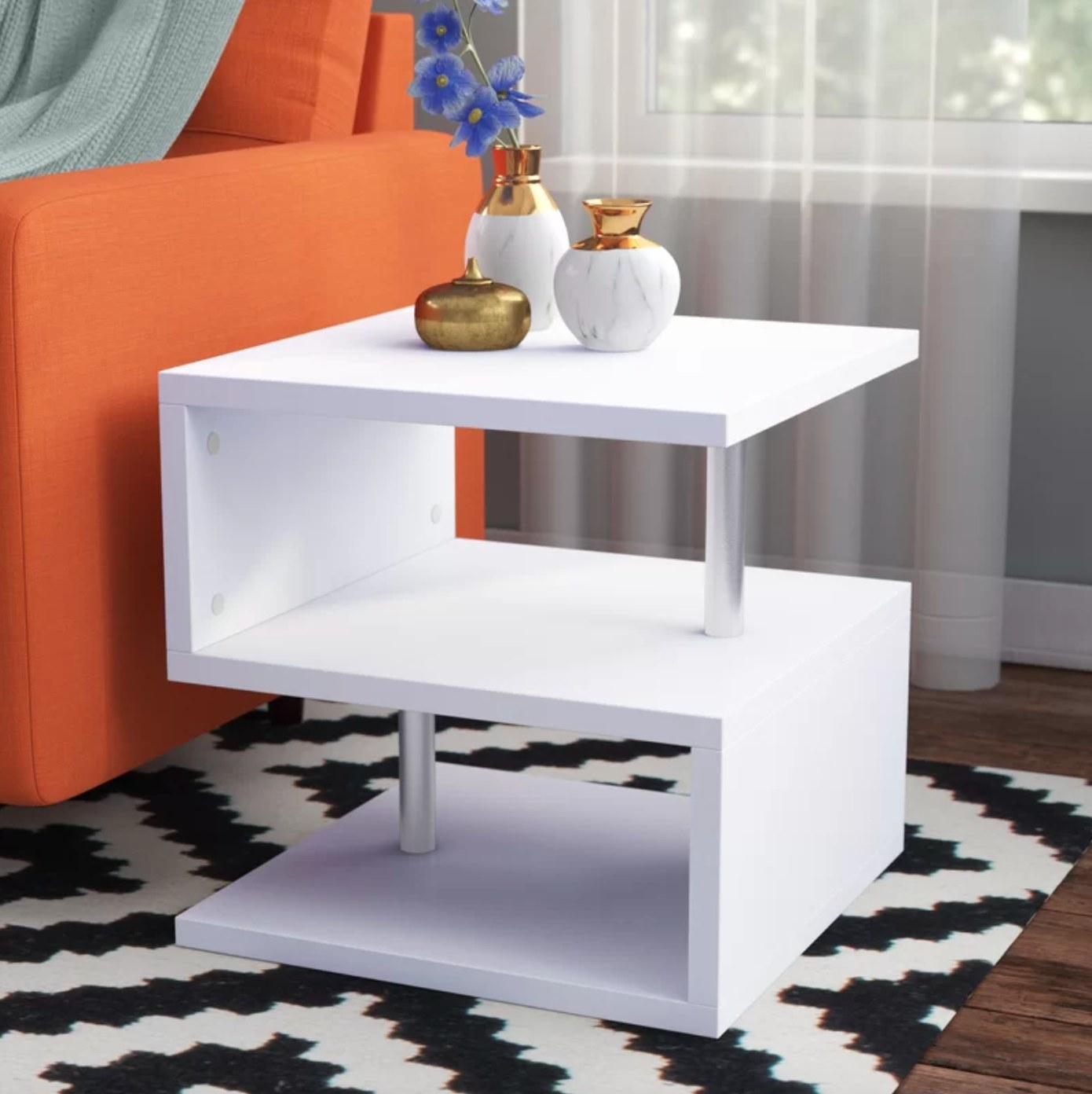 The end table with storage in white and chrome