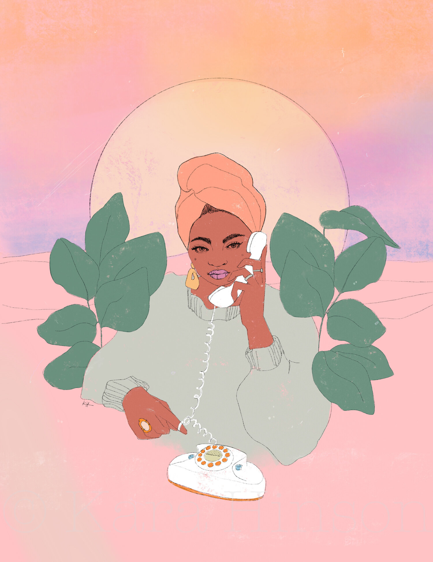 A print of a glamorous woman holding a dial-up telephone to her ear