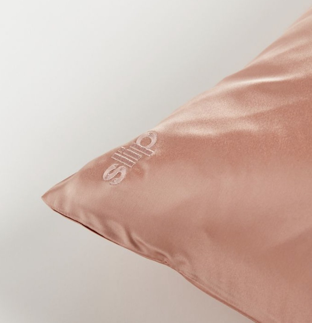 The pink silk pillowcase