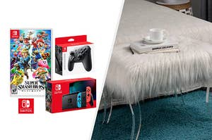 to the left: a nintendo switch bundle, to the right: a faux fur bench