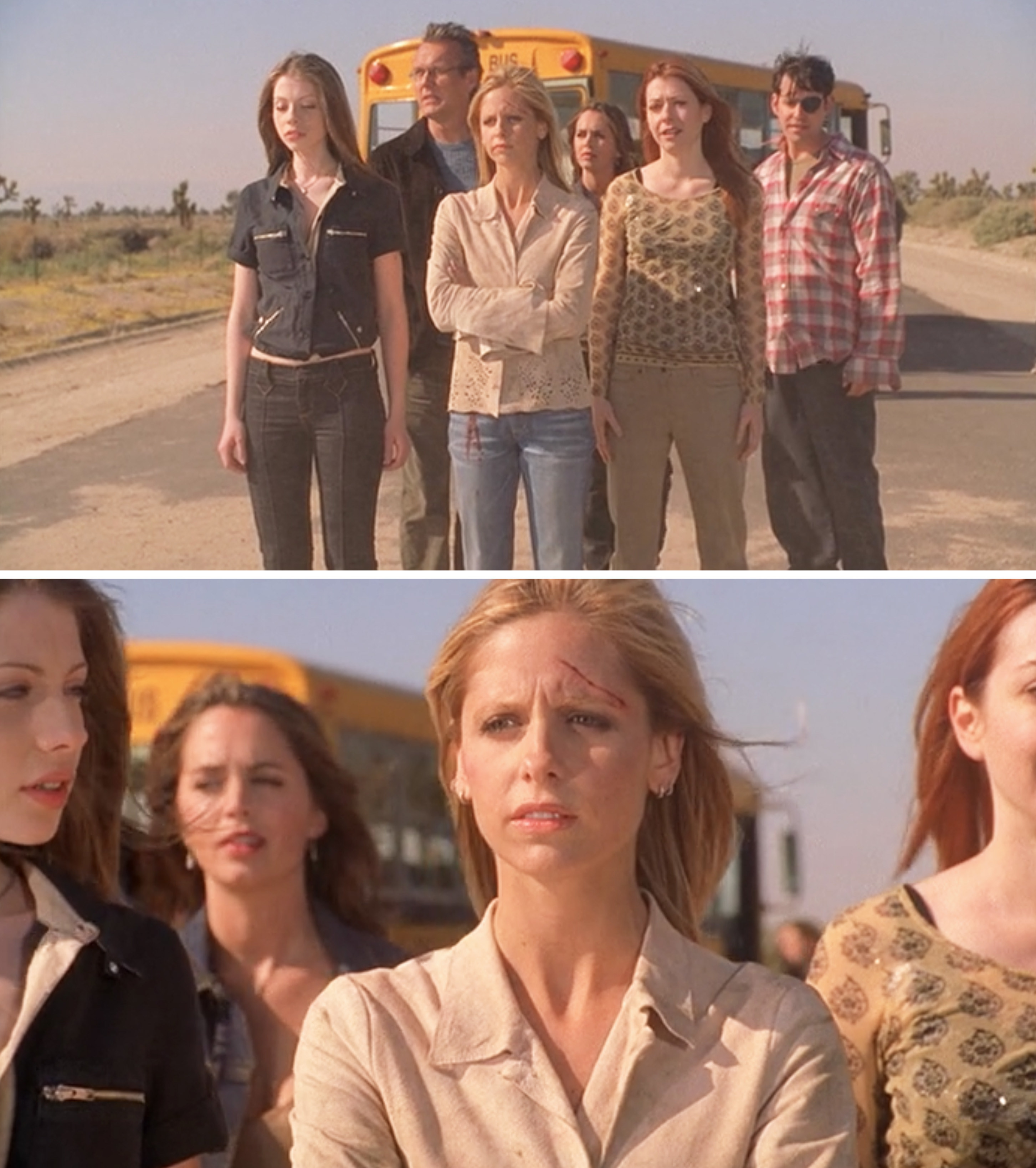 Buffy and her friends looking at where Sunnydale used to be during the series finale