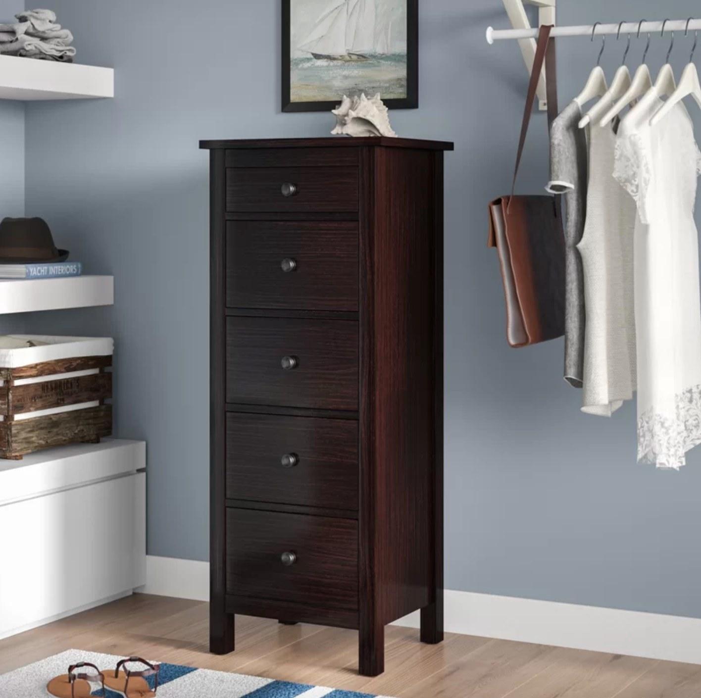 The five-drawer lingerie dresser in espresso
