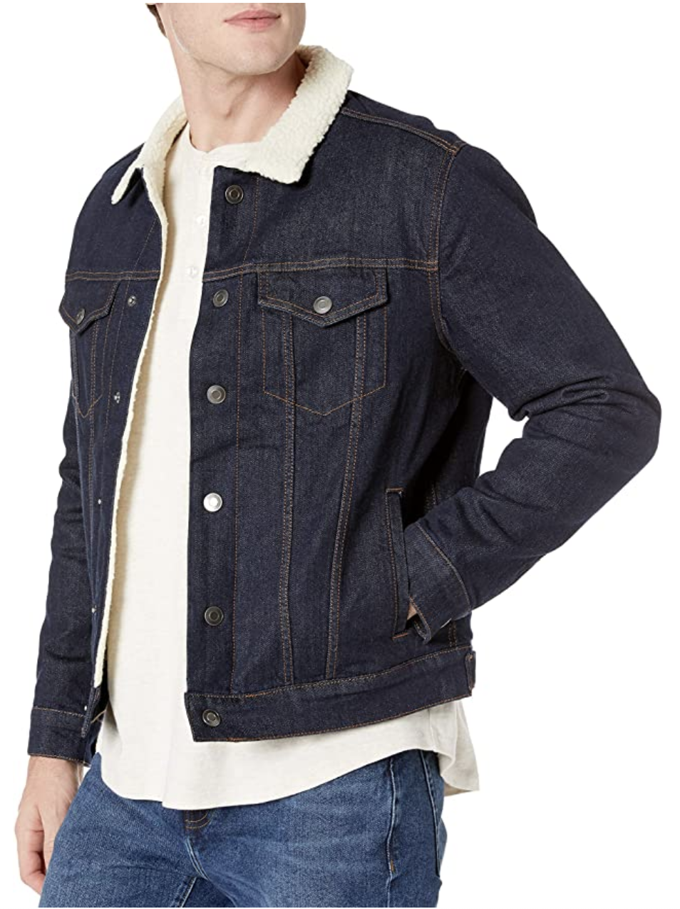 model in dark denim button up sherpa lined jacket with collar