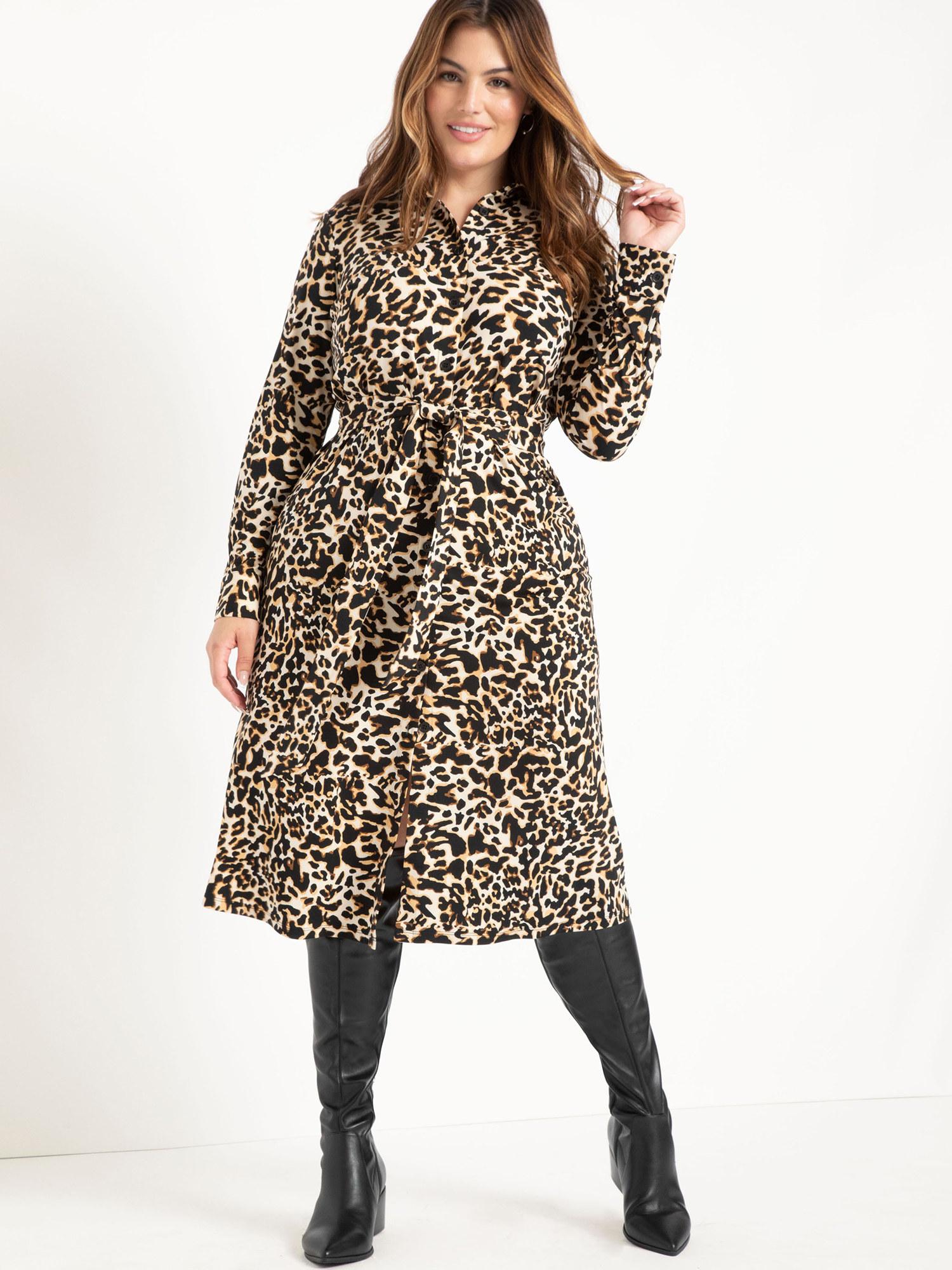 Model wearing the leopard print dress