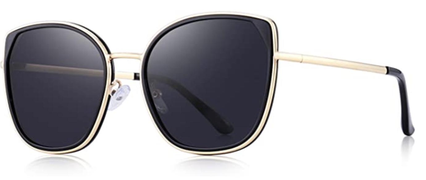 Black polarized cat eye sunglasses with gold rims