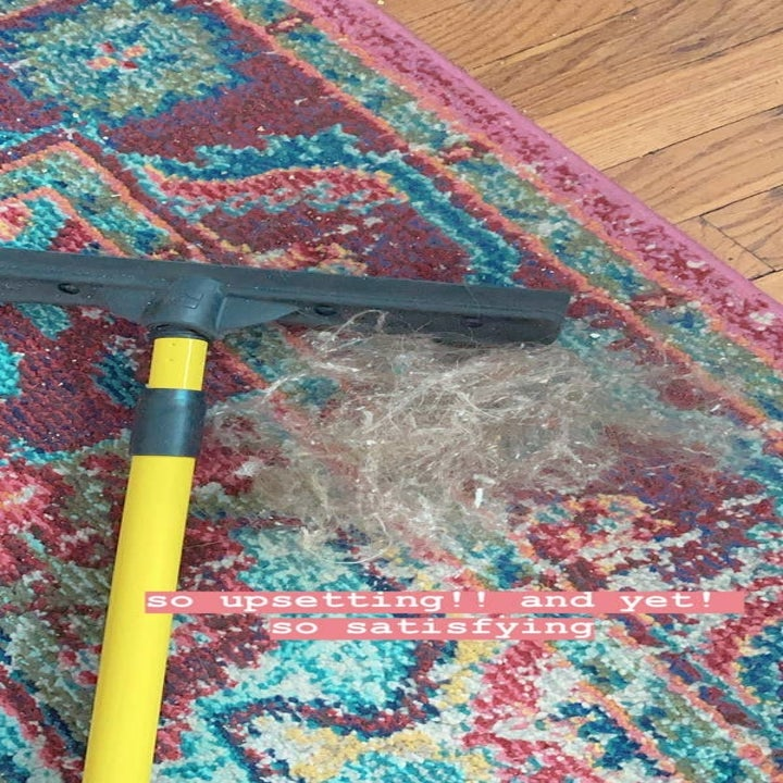 A BuzzFeed editor's carpet with a hairball next to the broom