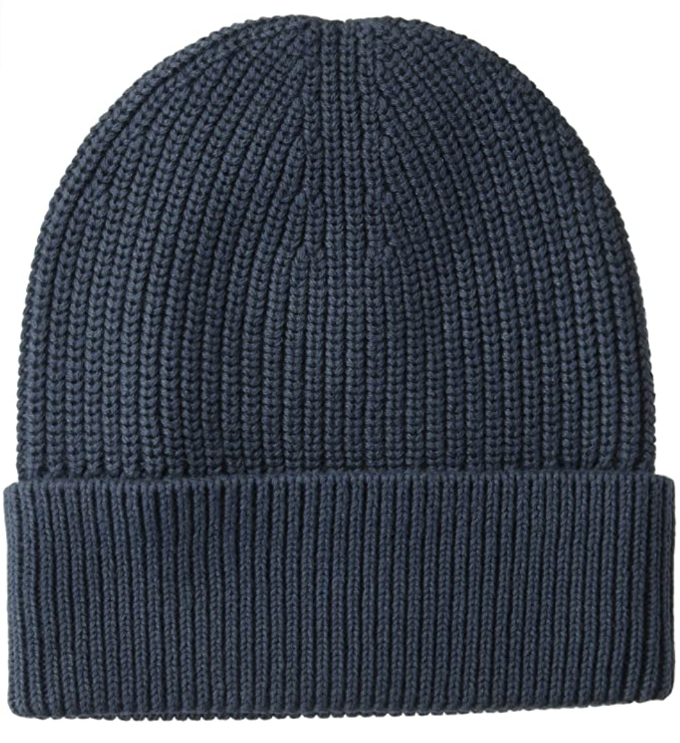 Navy knit beanie with rolled cuff