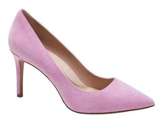 lilac suede pumps with a nude insole