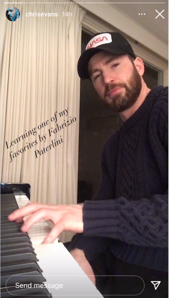 """Chris at the piano with the caption """"Learning one of my favorites by Fabrizio Paterlini"""""""