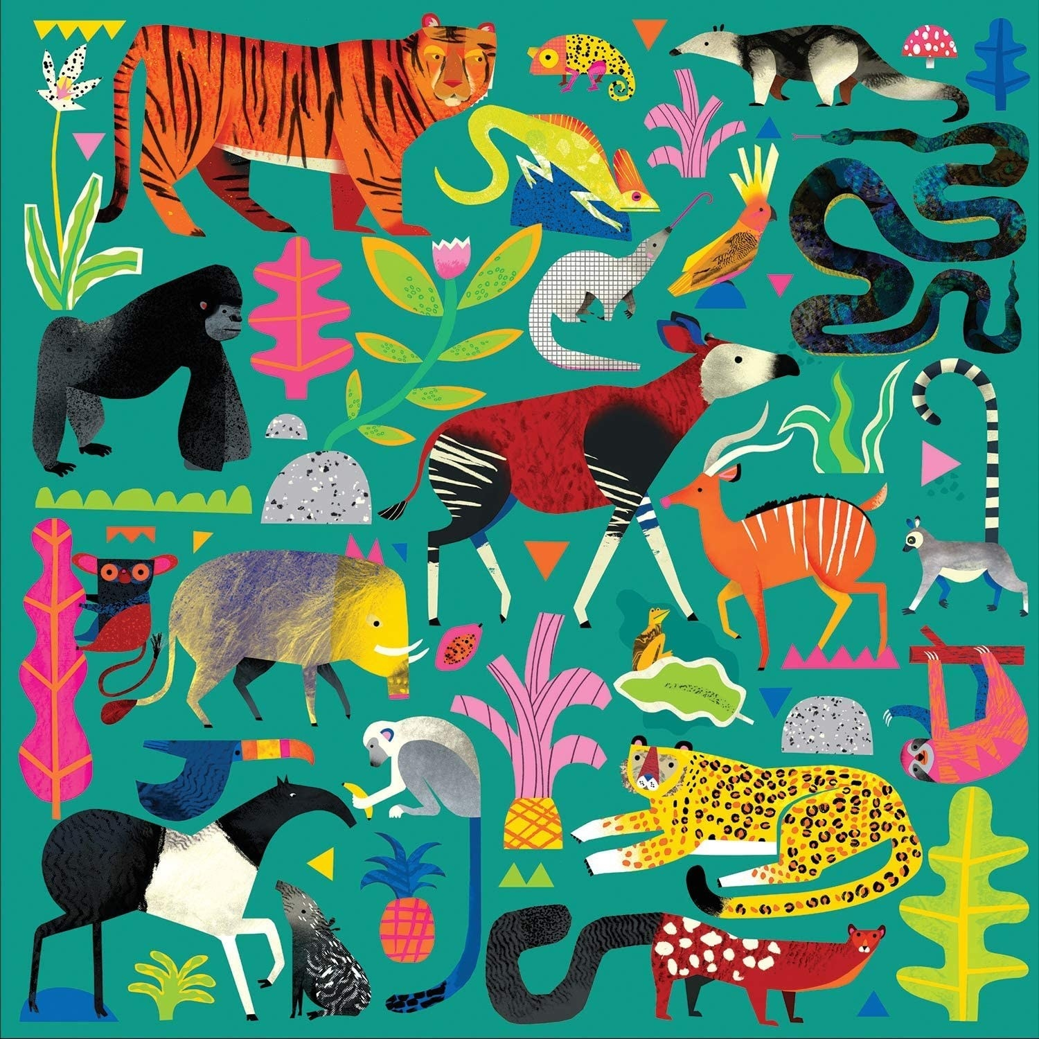 The puzzle has various animals on it such as a tiger, iguana, ant eater, sloth, monkey, leopard, lemur, and more