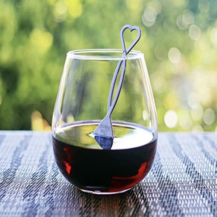 The wine wand in a glass of red wine