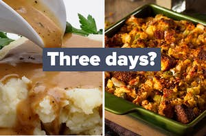 """Gravy and mashed potatoes on the left and stuffing on the right with """"three days?"""" written in the middle"""