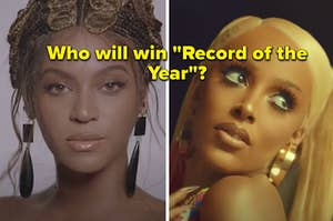 """Beyonce is on the left with Doja Cat on the right labeled, """"Which will win """"Record of the Year?"""""""