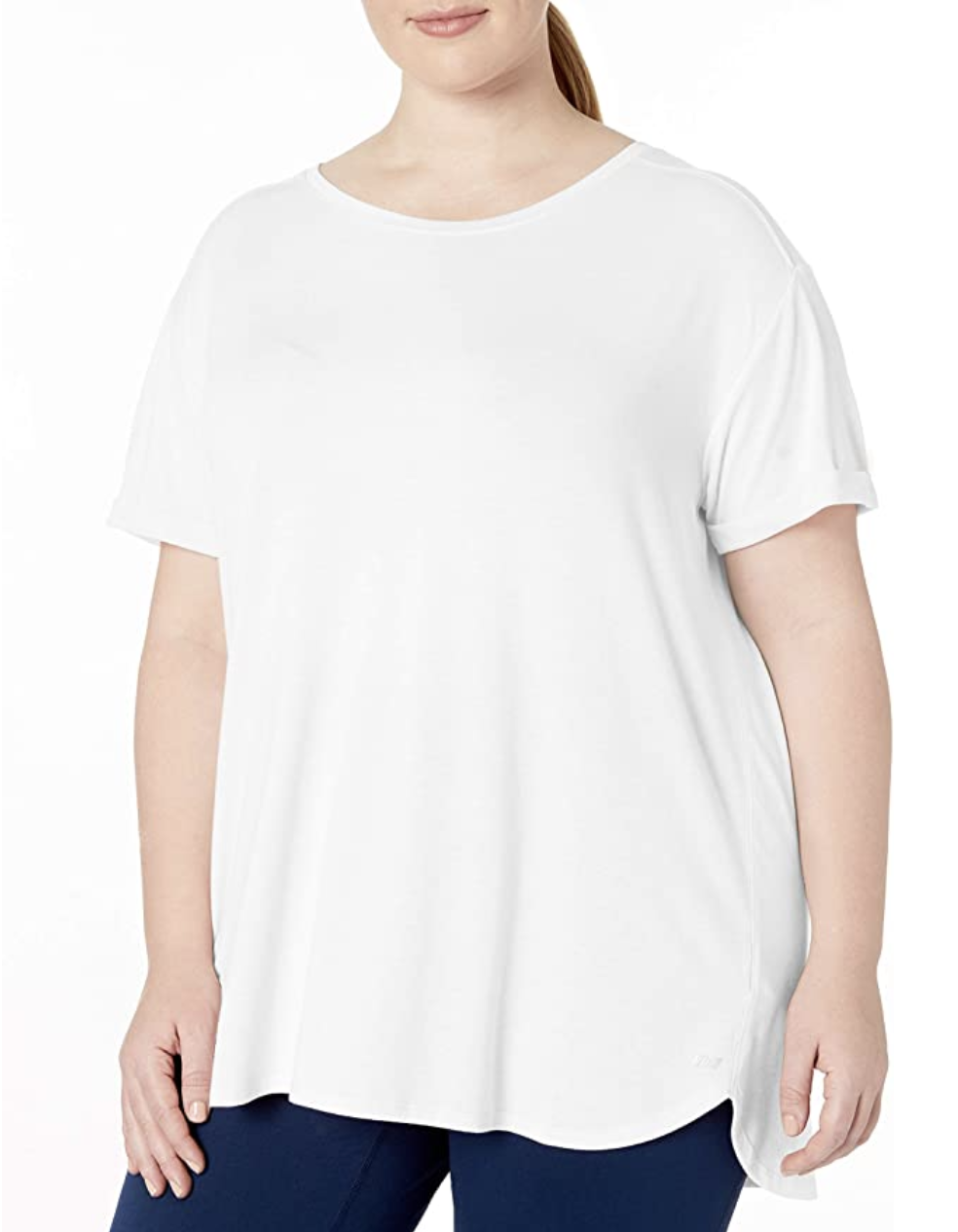 A model in the white t-shirt