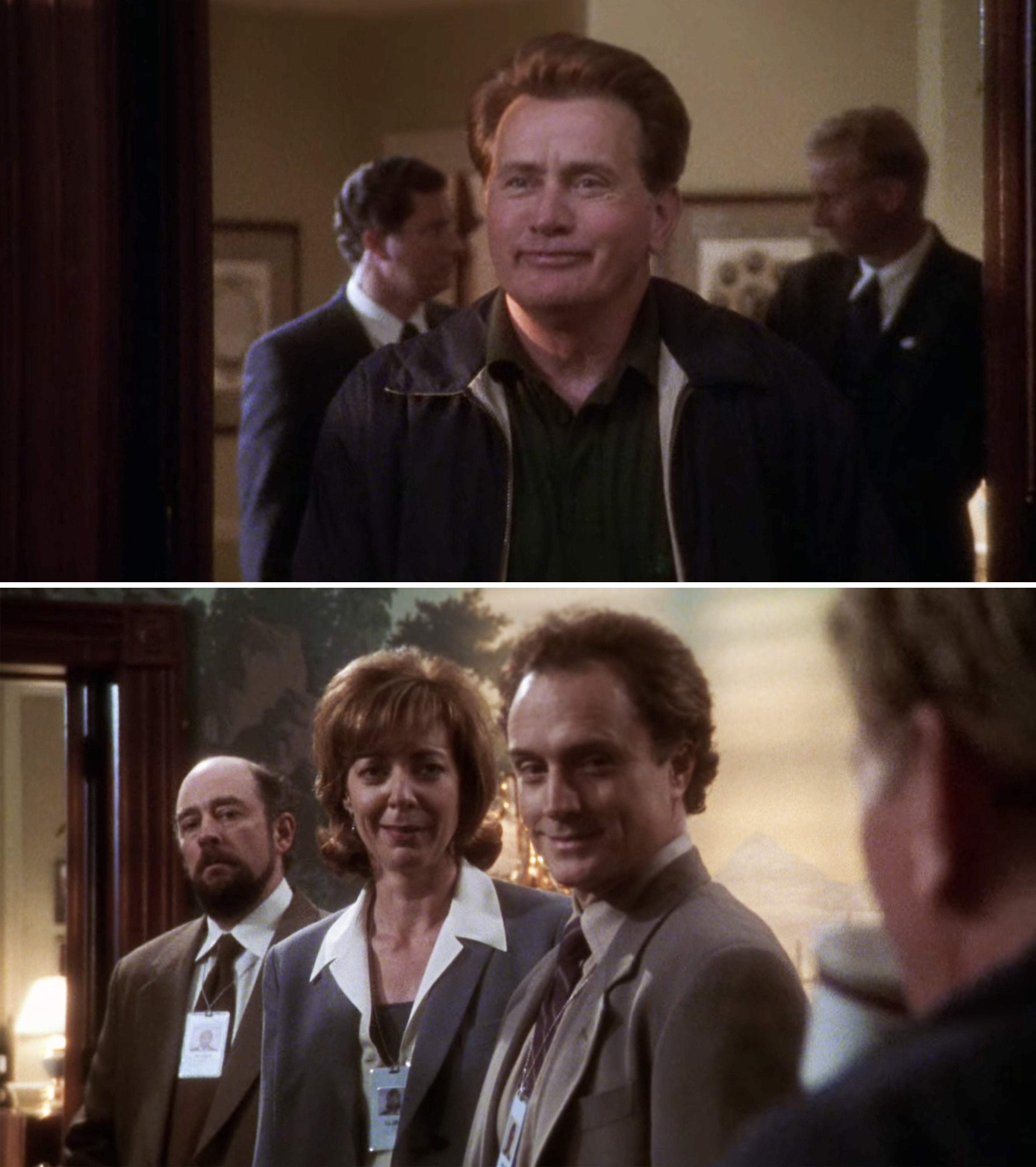 President Bartlet arriving and talking to CJ, Josh, and Toby