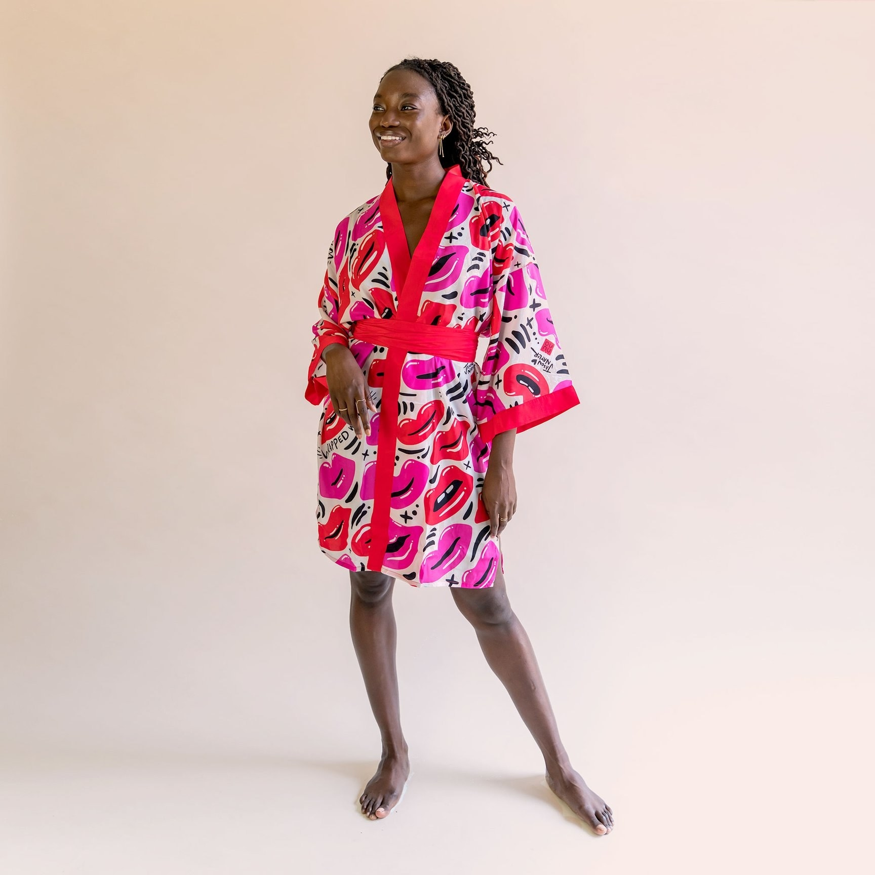 A model wearing the robe
