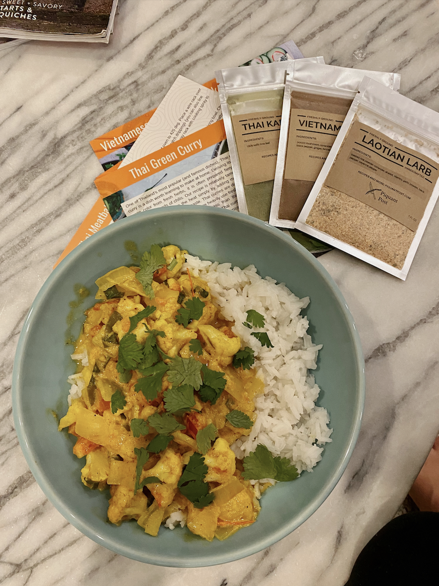 A reviewer's bowl of Thai Green Curry made with the subscription box