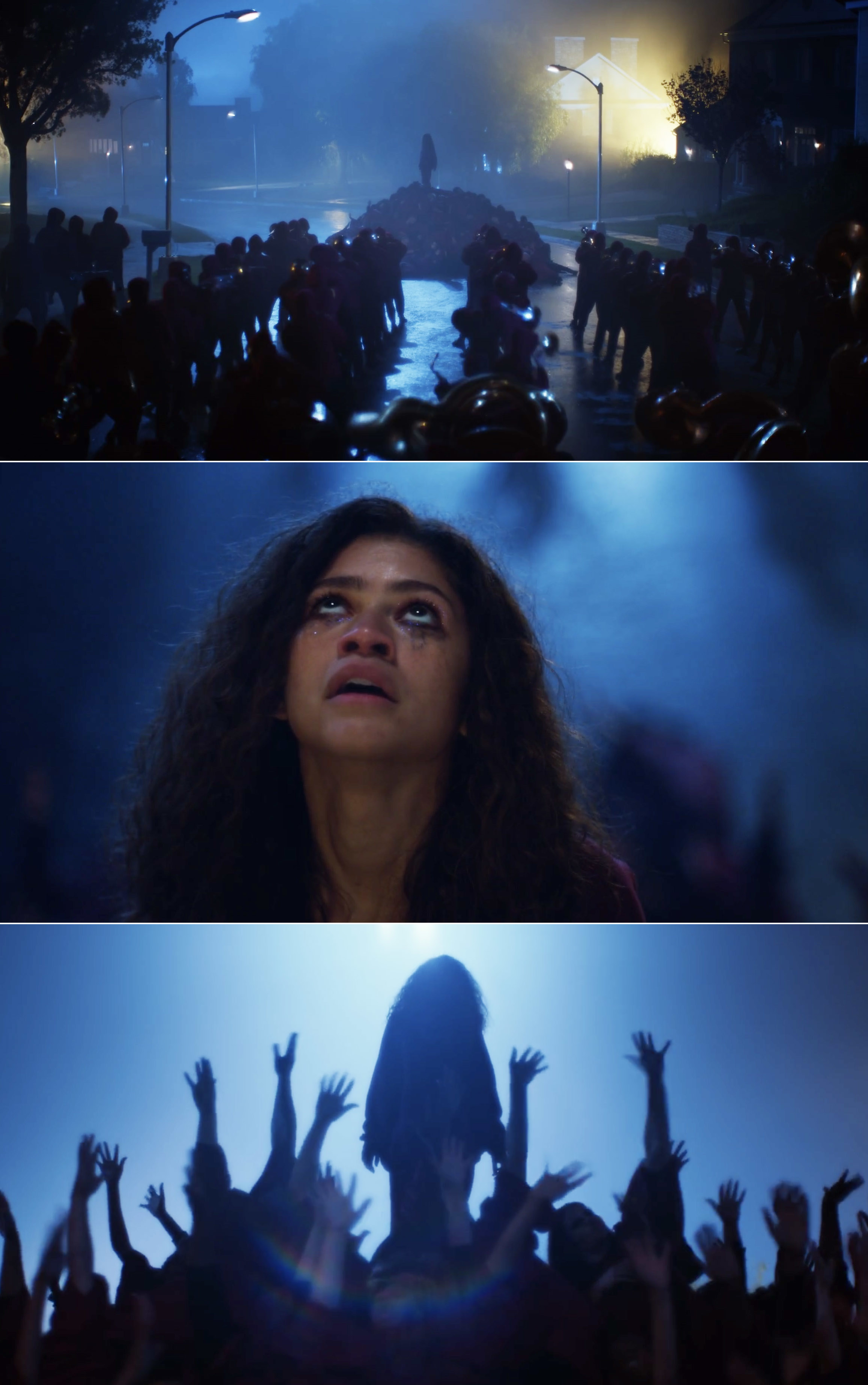 Rue dancing and singing during the Season 1 finale