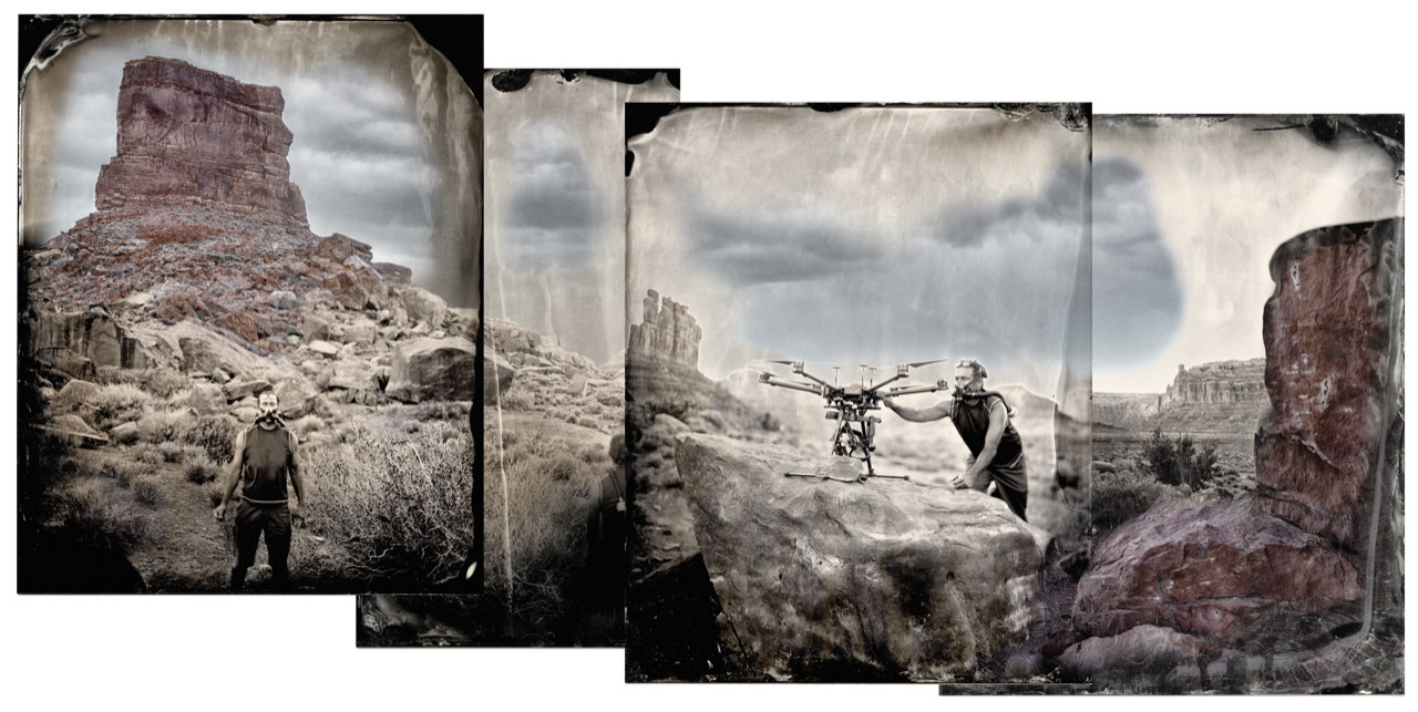 Four conjoining photographs of a man in front of a butte/desert scene with a drone.