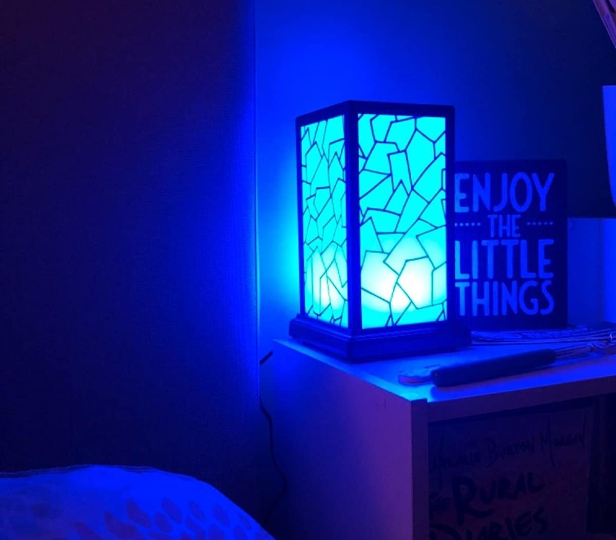 Reviewer image of one lamp illuminated with a blue light