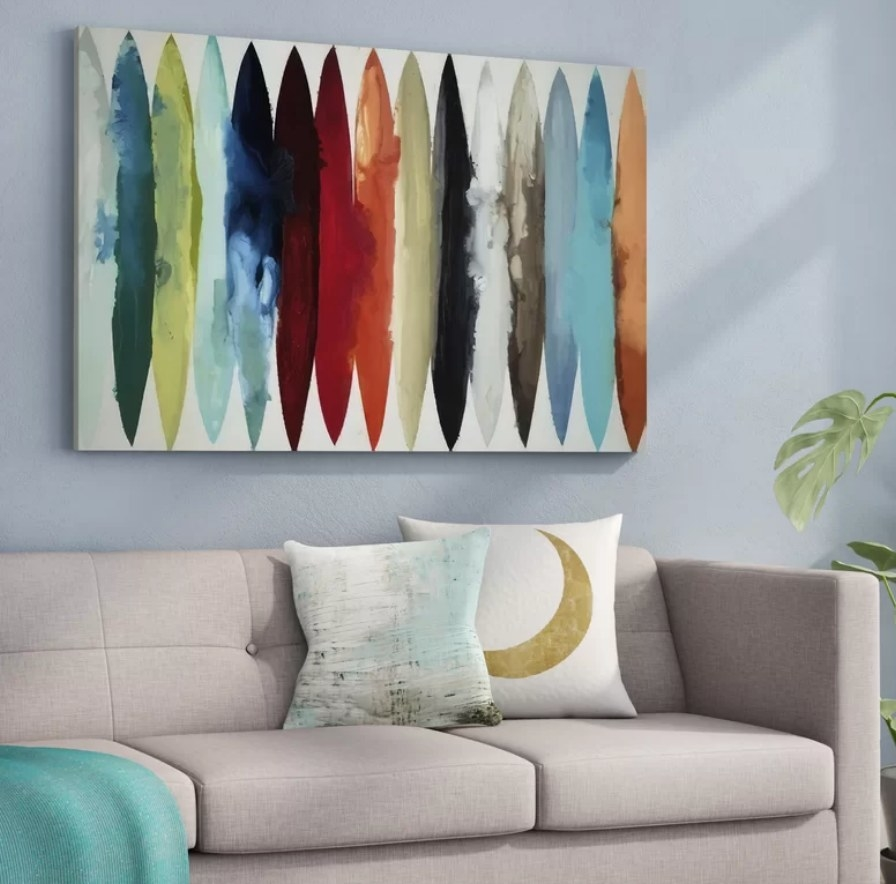 Large multi color canvas art on wall