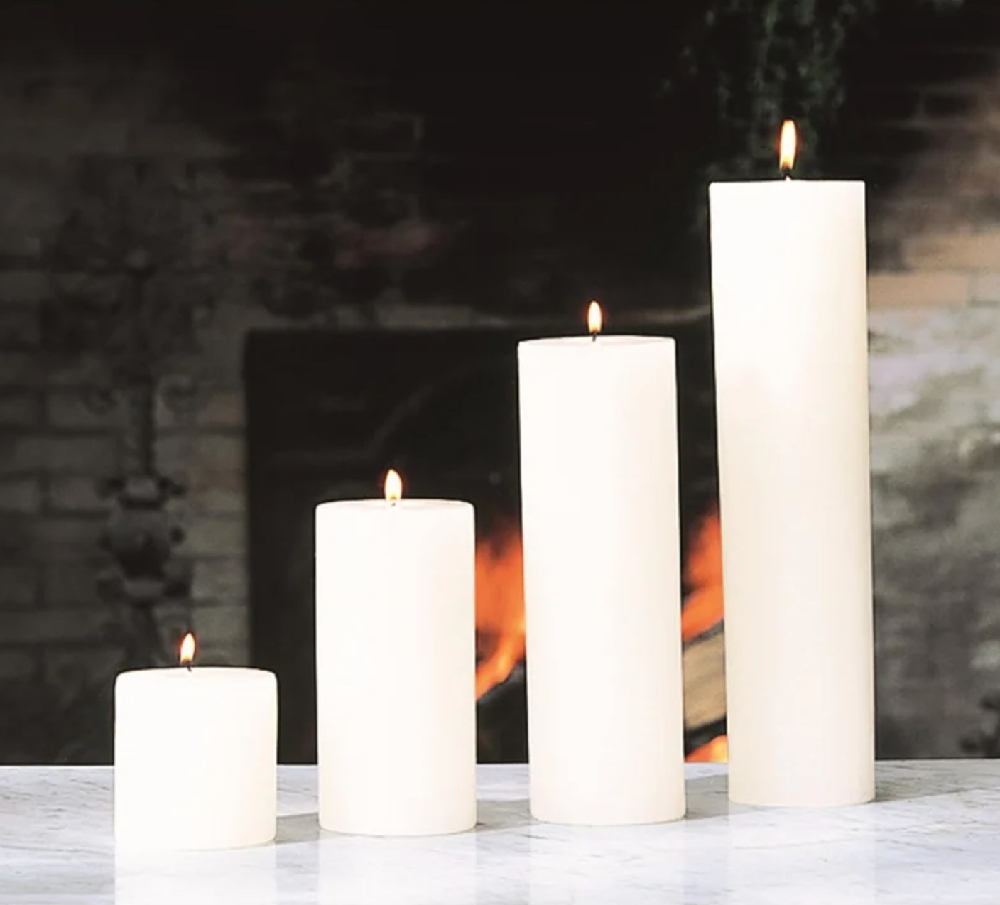 The unscented pillar candle in white
