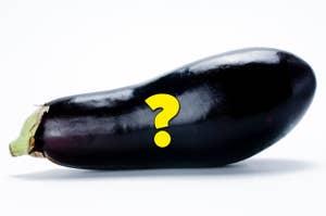 A question mark over an eggplant