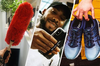A duster, a person holding their phone with a phone grip, and tie-free laces in a pair of shoes