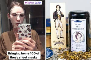"""on left reviewer wearing sheet mask labeled """"bringing home 100 of these sheet masks"""" and on right a Pride and Prejudice tea set"""
