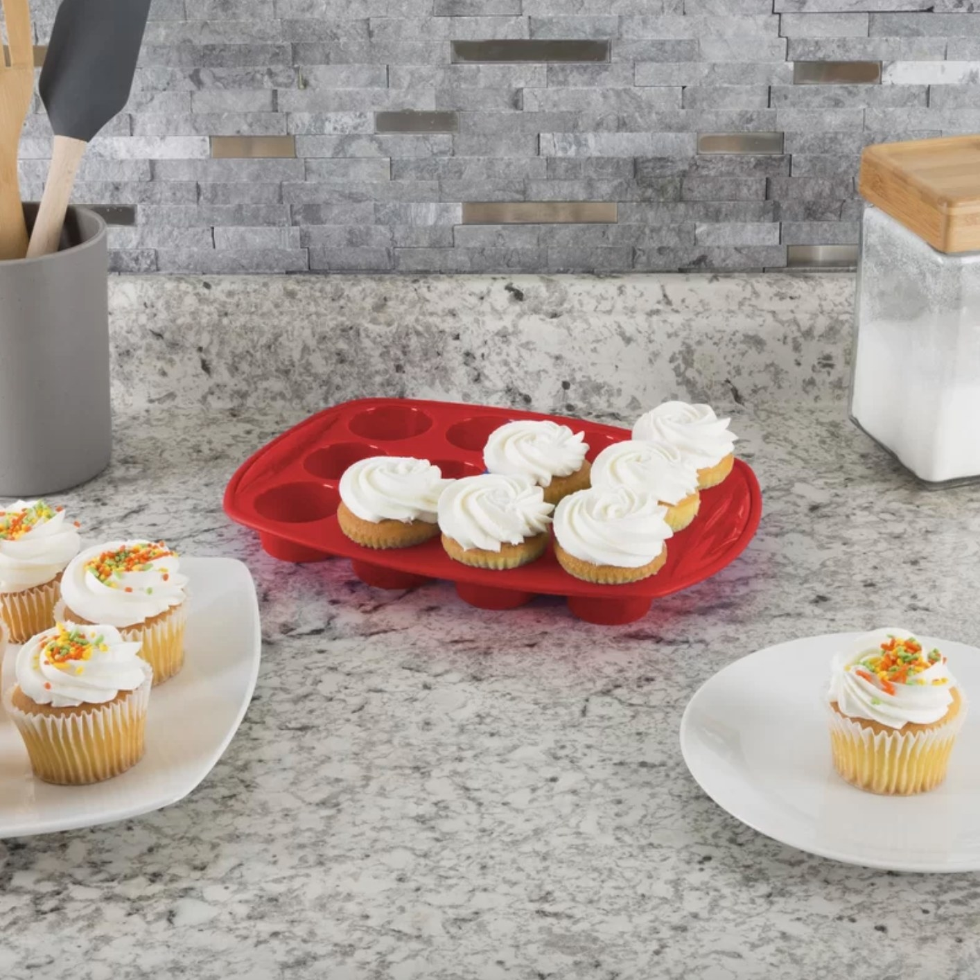 The nonstick bakeware cupcake tray in red