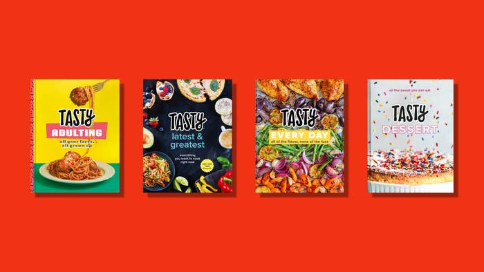 Four cookbook covers on a red background.