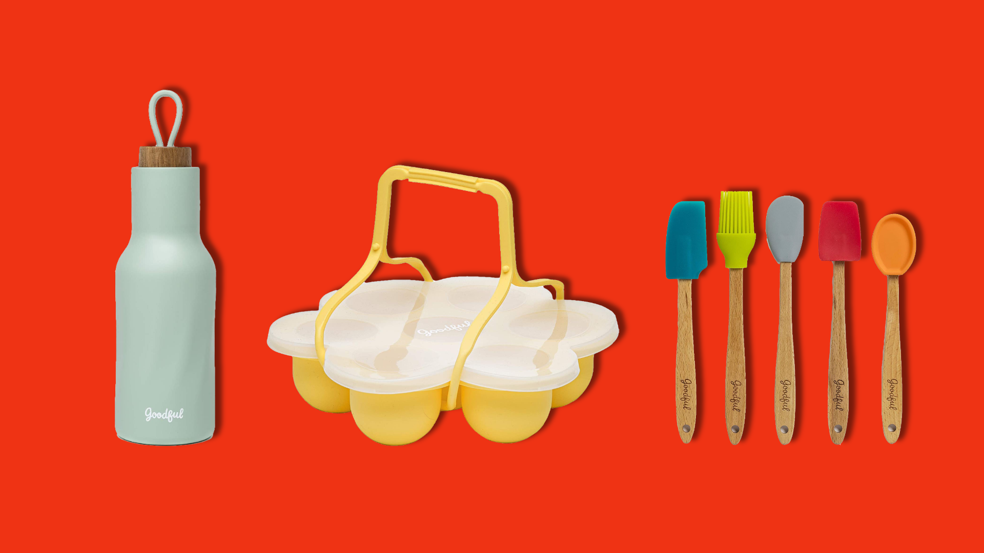 A water bottle, an egg mold, and miniature kitchen tools on a red background.
