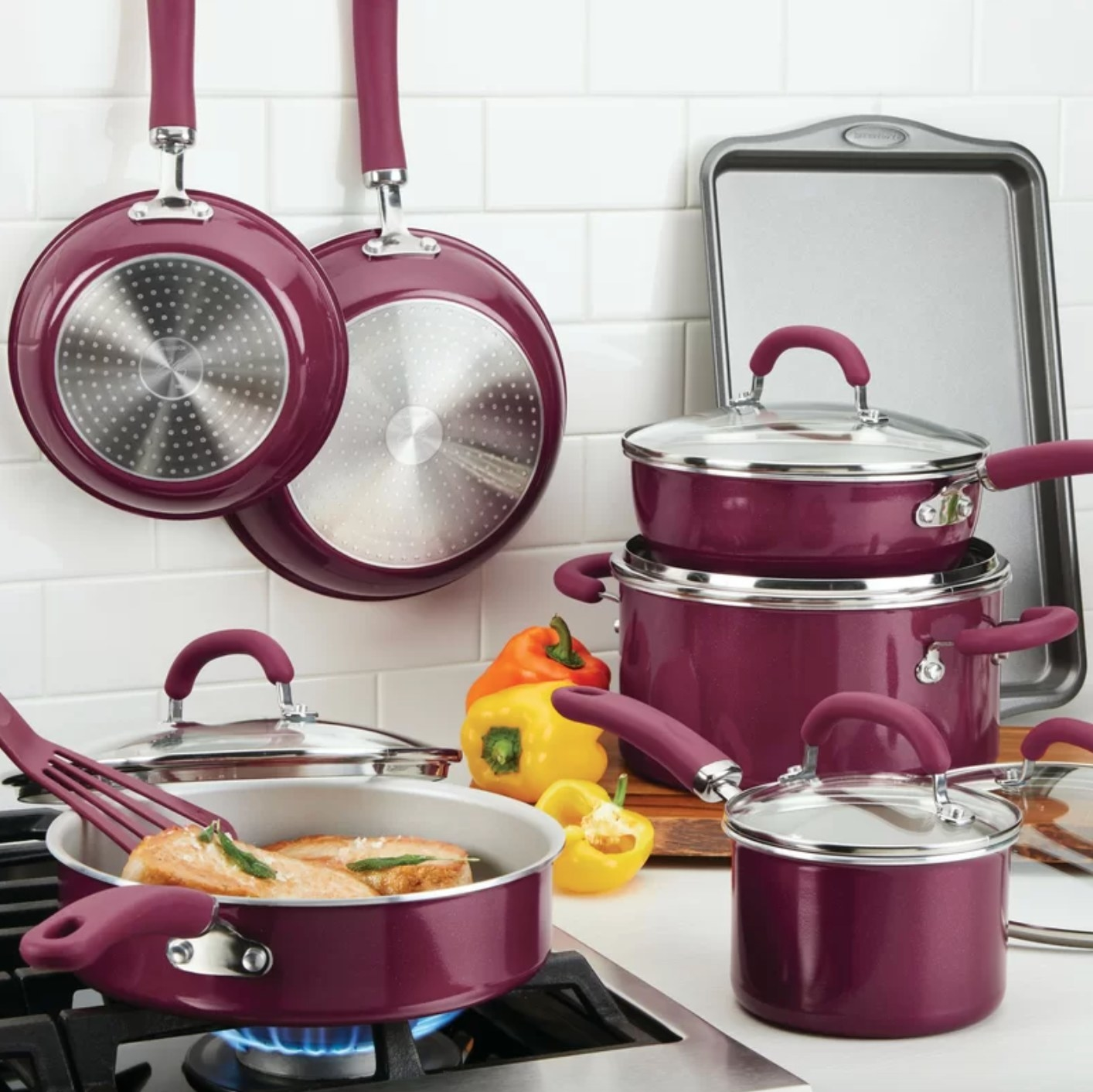 The non-stick cookware set in burgundy shimmer