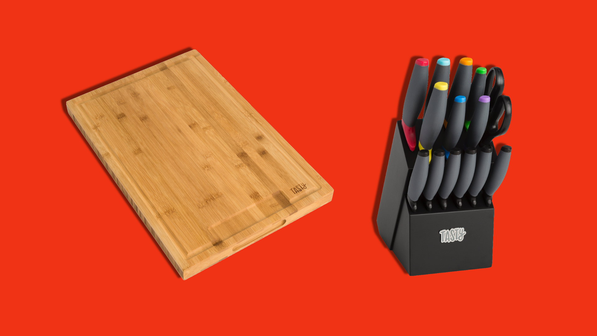 A wooden cutting board and a knife block on a red background.