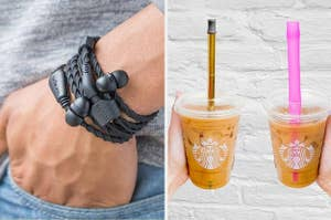 to the left: wired wrist band headphones, to the left: reusable straws in starbucks cups