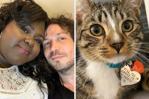Gabby Sidibe and Brandon Frankel, and their cat