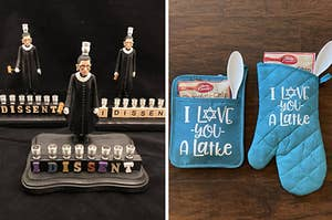 on the left, an rbg menorah, and on the right, a personalized oven mit and pot holder