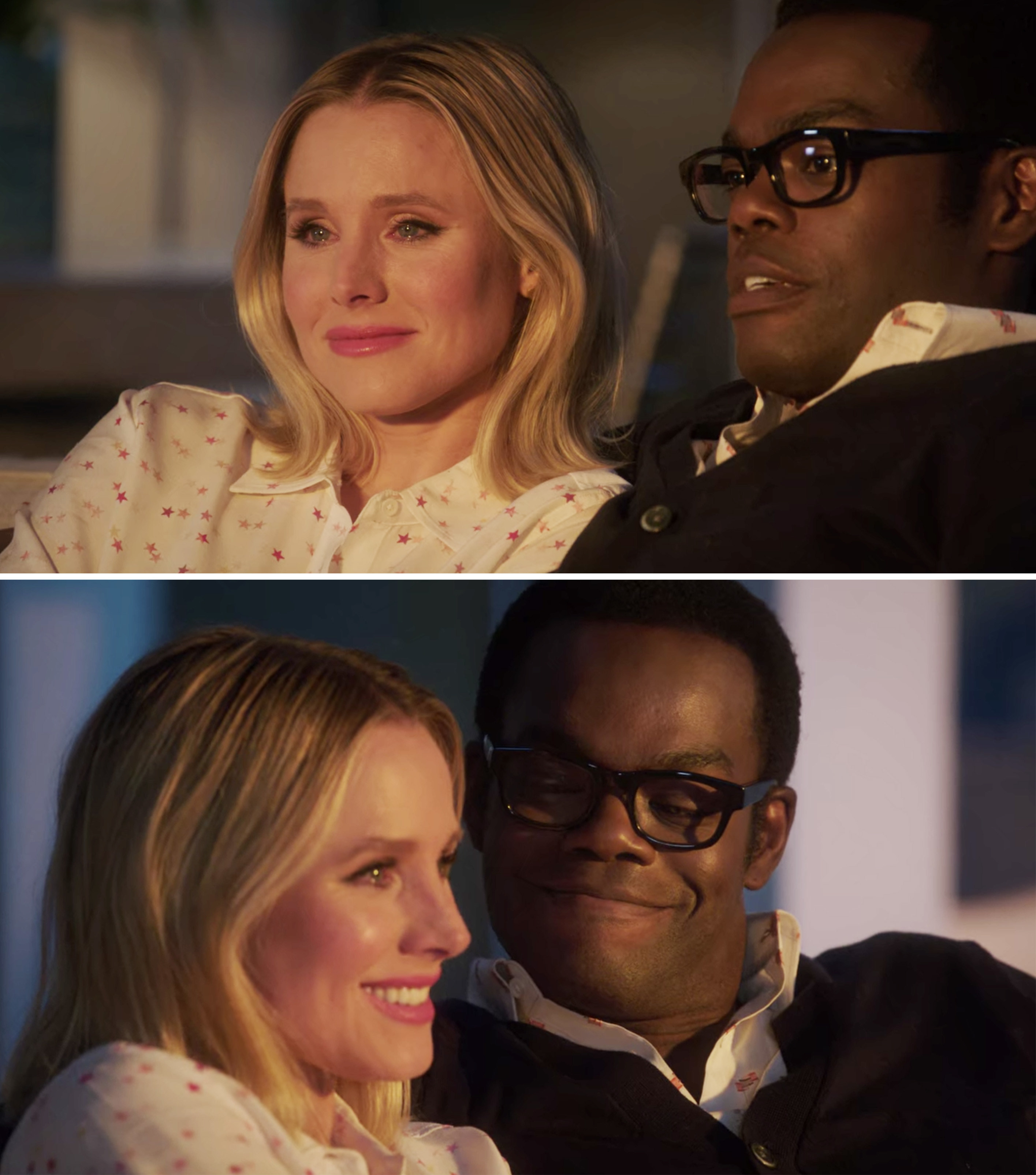 Chidi and Eleanor sitting together and Eleanor crying during the series finale