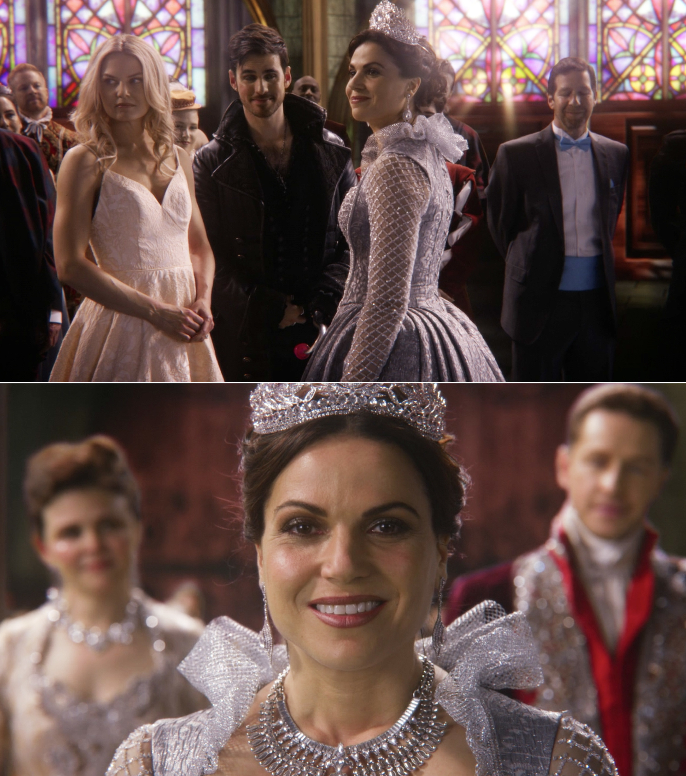 Regina during the series finale getting a crown from Prince Charming and Snow White and celebrating with Emma and Hook