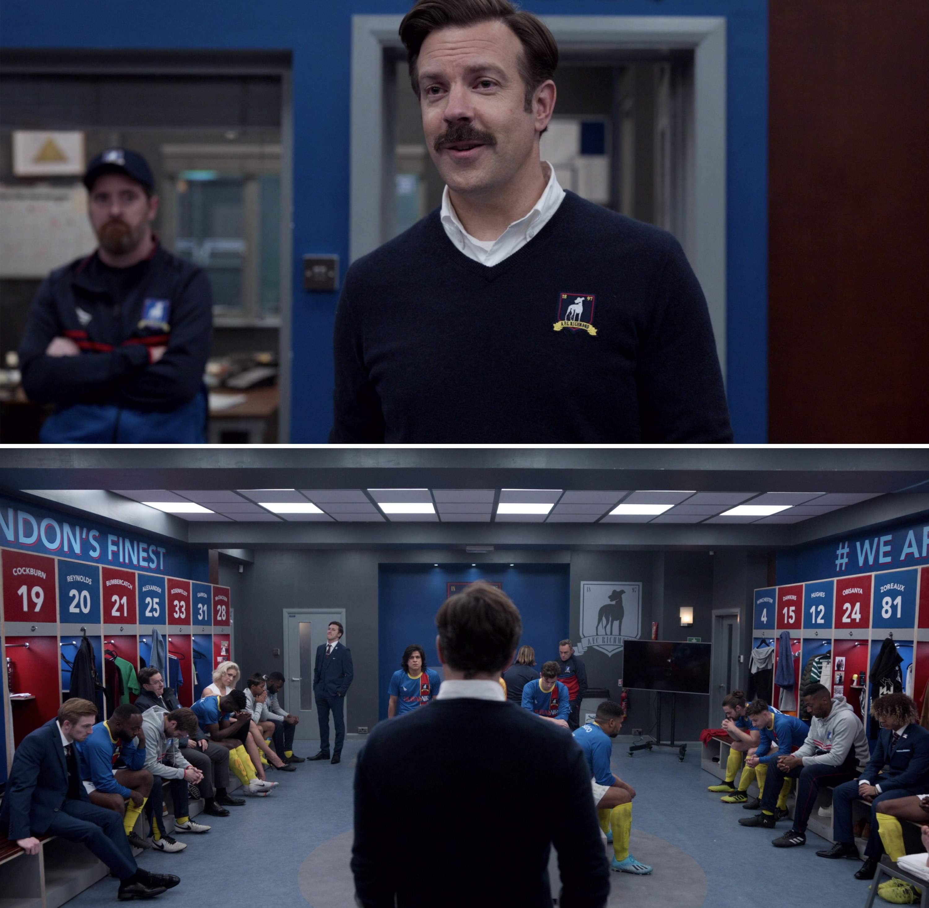 Ted talking to his team in the locker room