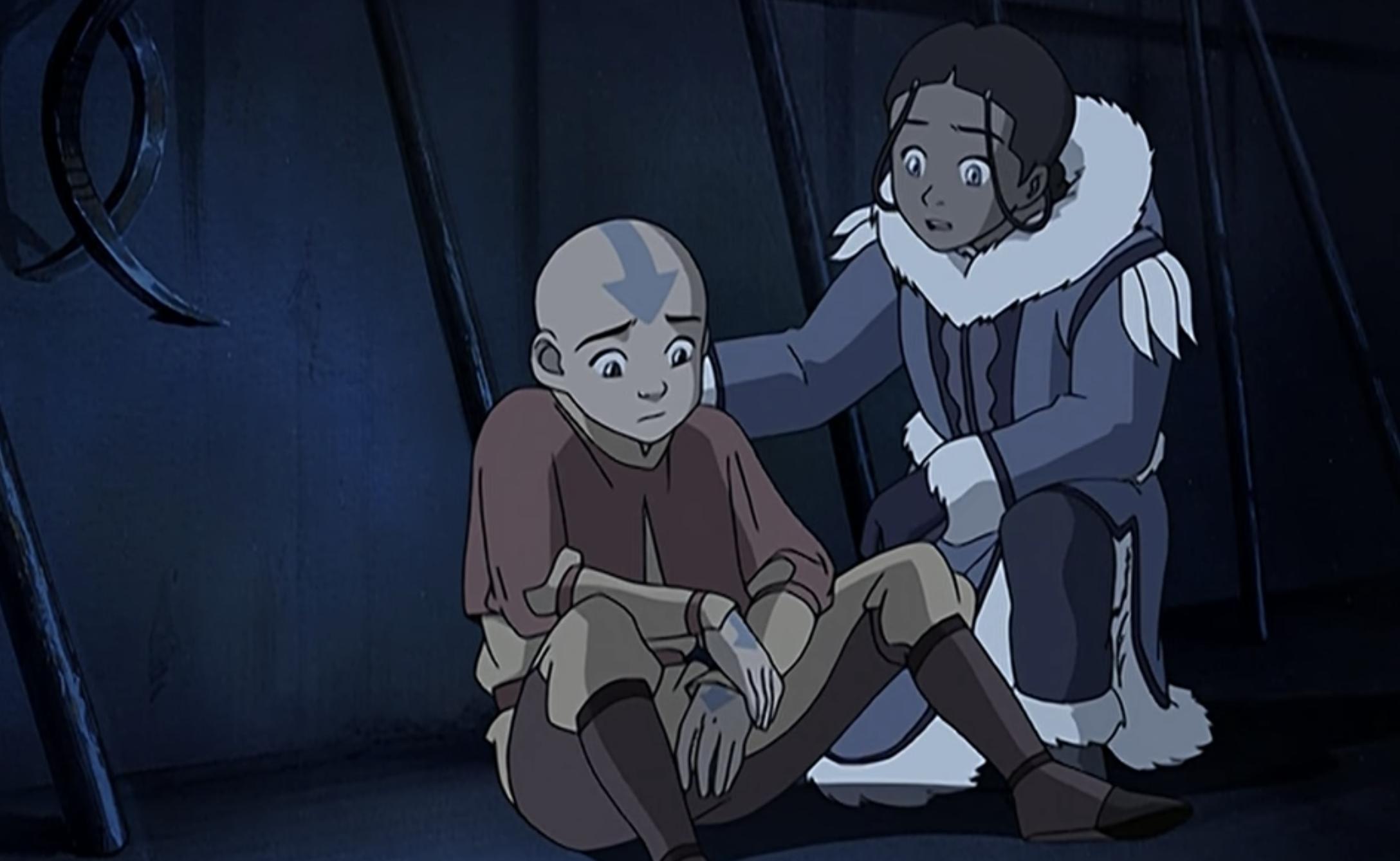Katara comforting Aang